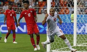 Wahbi Khazri celebrates after scoring Tunisia's second goal in their 2-1 win against Panama.