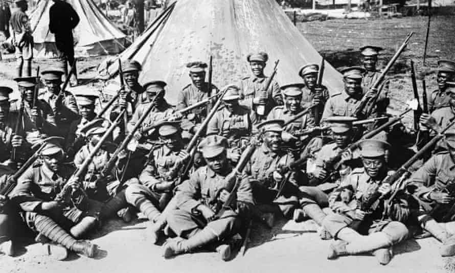 The British West Indies Regiment in camp on the Albert-Amiens Road, September 1916.