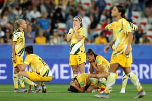 Karly Roestbakken of Australia reacts to being knocked out of the tournament after a round of 16 match with Norway at Stade de Nice.