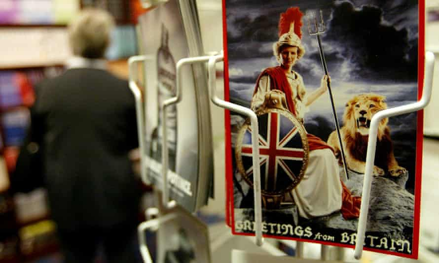 A postcard showing Margaret Thatcher as Britannia