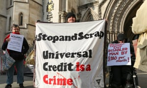 Protest outside the Royal Courts of Justice supporting a legal challenge of a universal credit refusal.