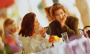 Female friends chatting over lunch
