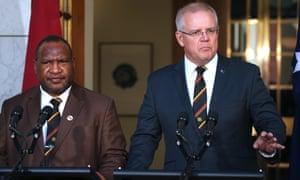 Papua New Guinea's prime minister James Marape with Australia's prime minister Scott Morrison in Canberra