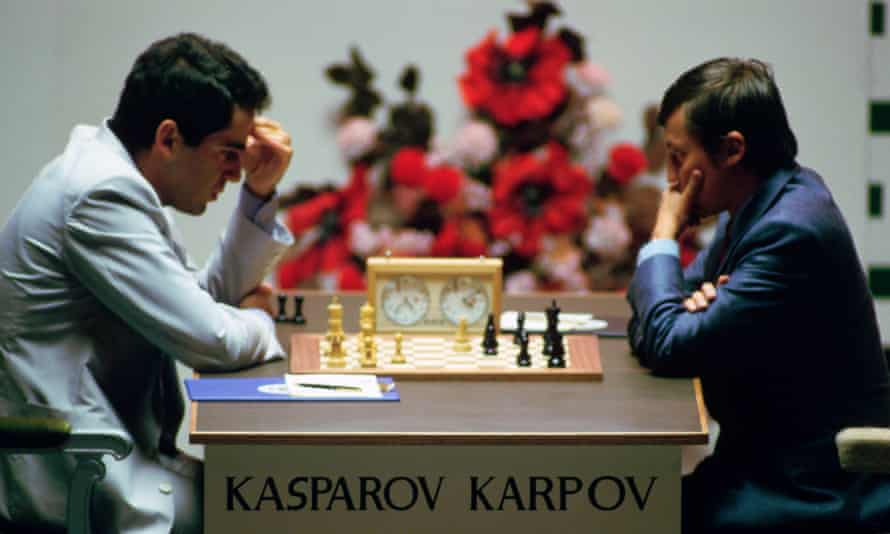 Kasparov and Anatoly Karpov competed in the world chess championship five times between 1984 and 1990.