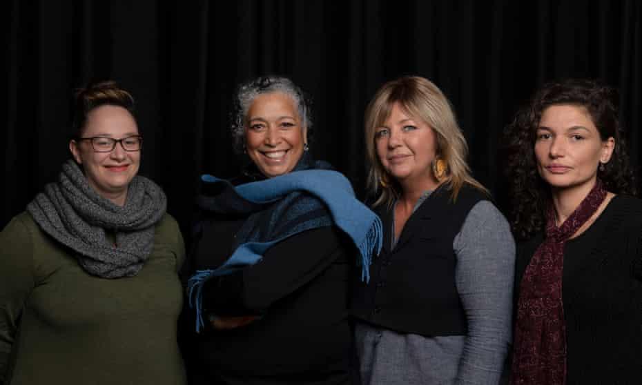 Ilbijerri Theatre Company's executive producer Lydia Fairhall, artistic director Rachael Maza, Louisa Briggs's great-great-granddaughter Caroline Martin, and creative director Kamarra Bell-Wykes.