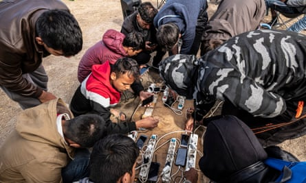 Care4Calais volunteers provided a generator and plugs so migrants could charge their phones, food, hair clippers and scissors.