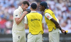 Jofra Archer (right) and Mark Wood chat with Dominic Sibley during the second Test in Cape Town. The fast bowlers are bidding to replace the injured Jimmy Anderson.