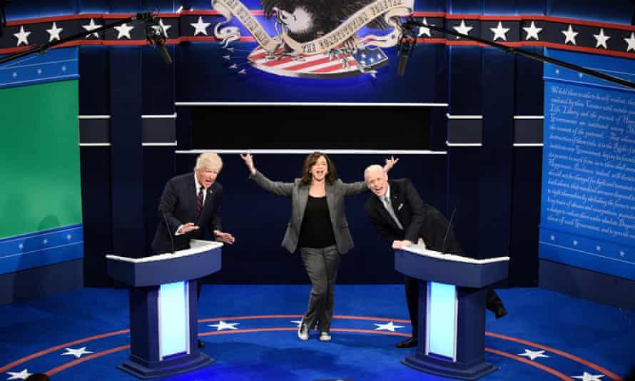 Saturday Night Live: Alec Baldwin as Donald Trump, Maya Rudolph as Kamala Harris, and Jim Carrey as Joe Biden during the 'First Debate' cold open.