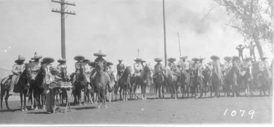 1911 massacre of Chinese men by Mexican revolutionaries. They show revolutionary soldiers on horseback before, during and after the attack on the city of Torreón, and a pile of bodies in the aftermath of the massacre. Pic Brigada del Gral Calisto Contreras