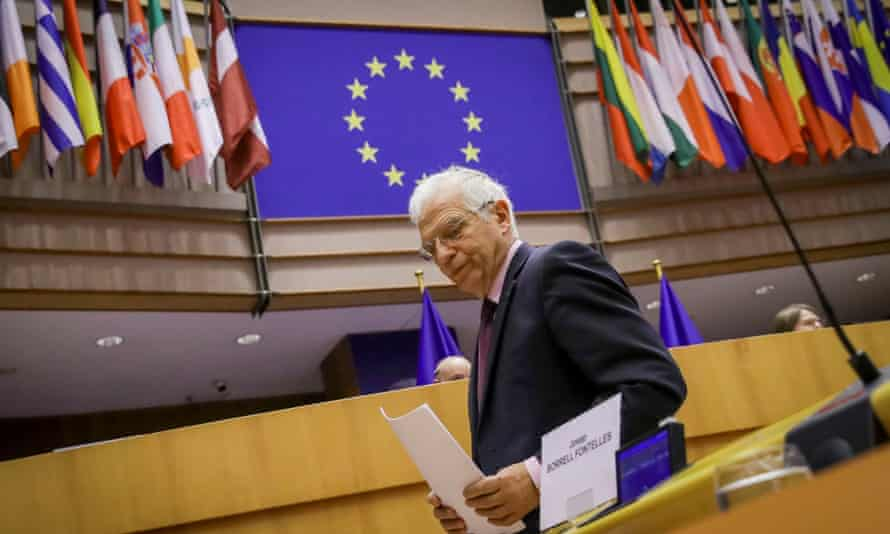 The EU's high representative for foreign affairs, Josep Borrell, attends a debate after his visit to Russia.
