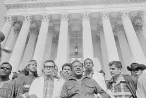 Supporters of the Rev Ralph Abernathy's Poor Peoples Campaign demonstrate at supreme court.