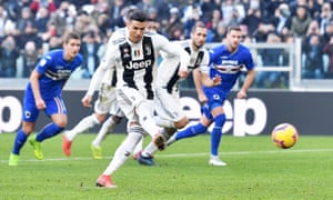 cristiano ronaldo doubles up for juventus but var denies sampdoria