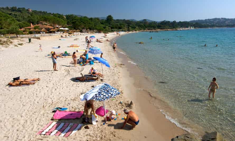 The beach at Pinarello in Corsica
