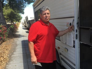 Frank Almada, who lives in this RV in Palo Alto.