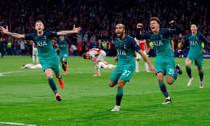 Tottenham players are euphoric after Lucas Moura's last-gasp winner against Ajax