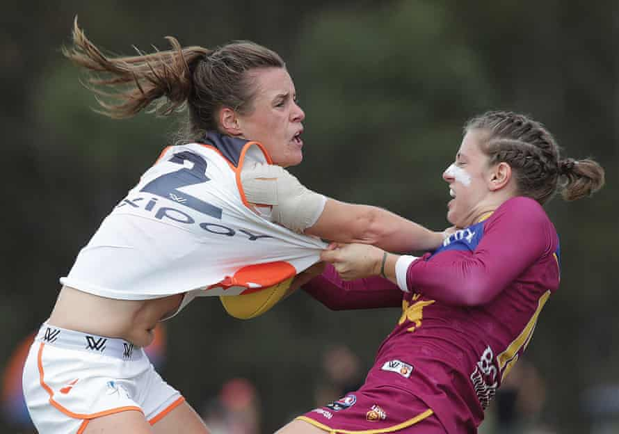 Alicia Eva fends off a tackle from Nat Exon in 'Dont Argue'