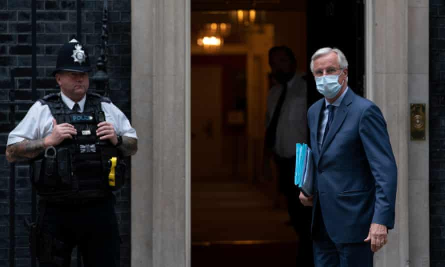 The EU chief negotiator Michel Barnier arriving at 10 Downing Street for an informal dinner earlier this month.
