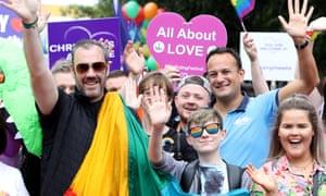 Irish taoiseach Leo Varadkar (CR) on the Belfast Pride Parade 2019 in Belfast.