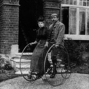 Creative partnership .. Arthur Conan Doyle sharing a tandem with his wife Louisa.