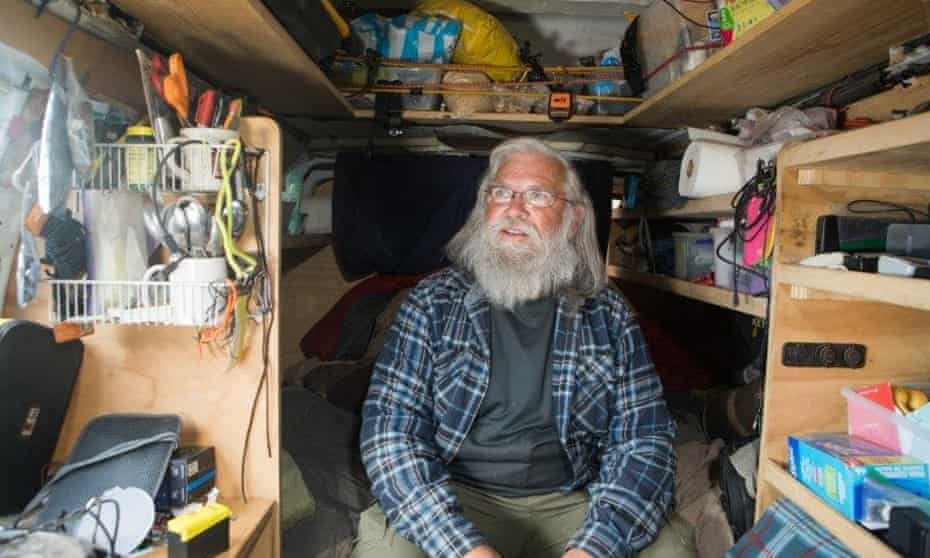 Bob Wells in his van. He started his nomad life in Alaska.