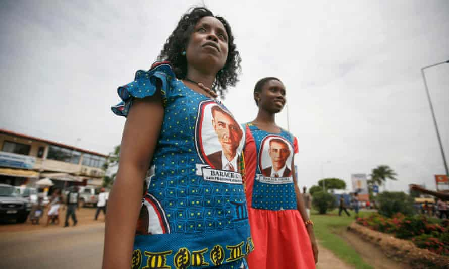 Ghanaian women in Accra wear dresses featuring the likeness of President Barack Obama, during Obama's first visit to sub-Saharan Africa