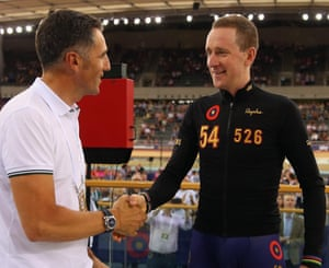 Bradley shakes hinds with one of his idols and former hour record holder Miguel Indurain.