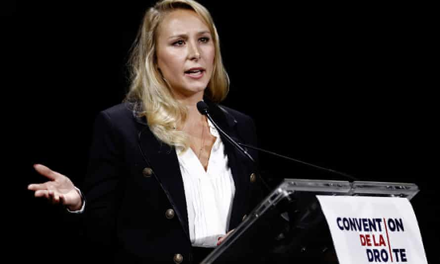 French far-right politician Marion Maréchal delivers a speech during a 'convention of the right' in Paris