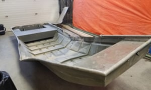 A damaged aluminium boat found by Canadian police in the search for triple murder suspects Kam McLeod and Bryer Schmeglsky near Gillam, Manitoba.