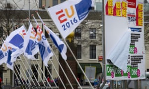 Flags of the Dutch EU presidency and campaign posters for the referendum on the EU-Ukraine association agreement are seen in The Hague.