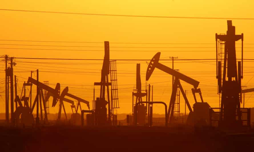 Oil pumps at a fracking site in California