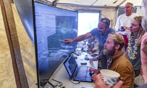Rescue leads Javier Cantellops, top, and Chris Berquist show some of the technology used in the search for Amana Eller in Wailuku, Maui, on 25 May.