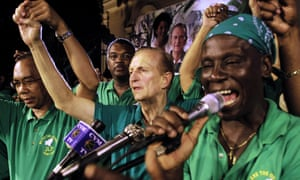 Edward Seaga at a Jamaican Labour party rally in Montego Bay in the 2002 election campaign.