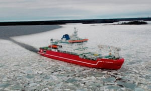 The research team is using the ice-breaker SA Agulhas to reach the Larsen C ice shelf.