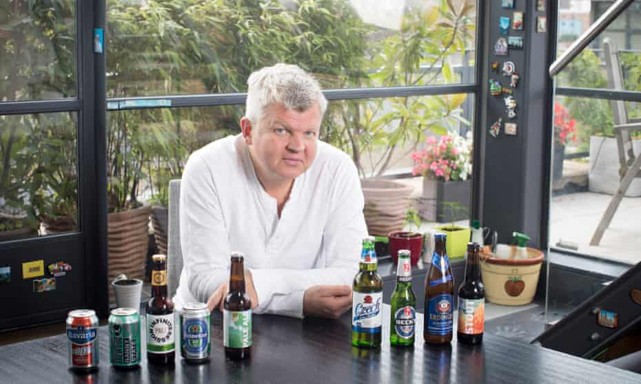 Adrian Chiles with a selection of low-alcohol beer.