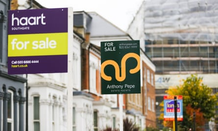 For sale signs in Southgate, north London