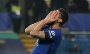 Olivier Giroud reacts after missing his late chance to win the game.