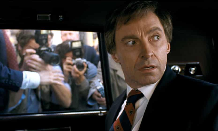 Hugh Jackman as Gary Hart in The Front Runner.