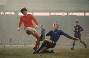 """Best shoots despite the attentions of Chelsea's Ron """"Chopper"""" Harris at Old Trafford in 1971"""