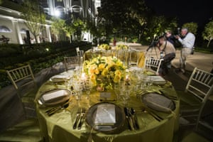 Tables set during a media preview for the state dinner with Donald Trump and Scott Morrison