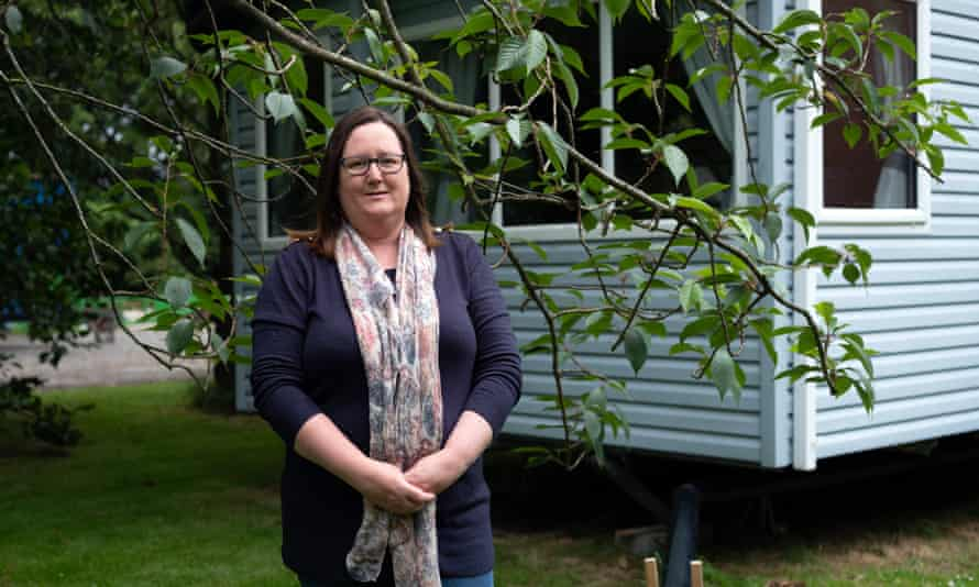 Emma Laughton has been living in a caravan with her husband and three sons since March.