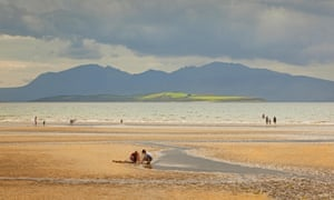 Families at Ettrick Bay on the Isle of Bute