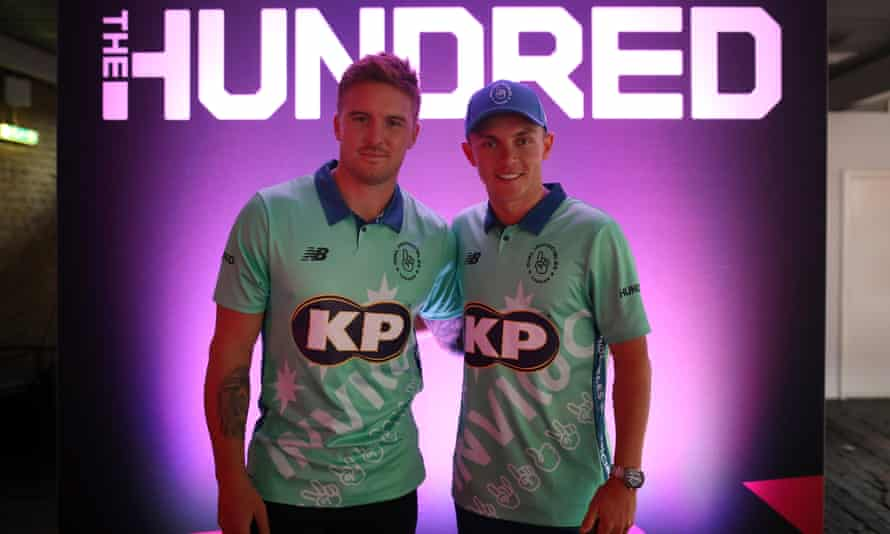Jason Roy and Sam Curran of Oval Invincibles at the launch of the Hundred in 2019.