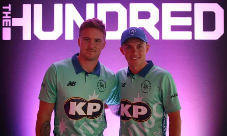 Jason Roy and Sam Curran of Oval Invincibles at the Hundred's launch in October 2019