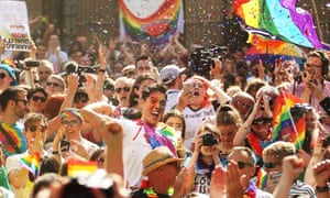 Australians celebrate the results of the marriage equality survey.