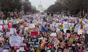 Thousands of people on Pennsylvania Avenue participate in the Women's March and rally to protest President Donald J. Trump the day after he was sworn in as the 45th President of the United States.