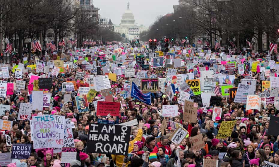 Thousands participate in the Women's March and rally to protest Donald Trump the day after his inauguration on 21 January 2017.