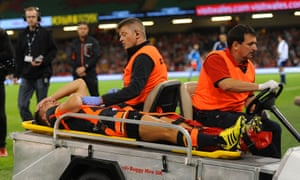 Wales' Rhys Webb is removed from the pitch on a stretcher after suffering an ankle injury.