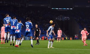 Lionel Messi scores Barcelona's fourth goal, his second direct from a free-kick, in the crushing derby win at Espanyol.