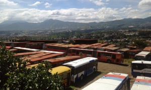 The bus depot in Zone 21 containing scrapped diesel buses from other countries.
