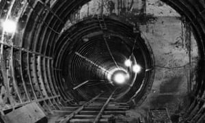 A section of the new Victoria Line tunnel in 1965.